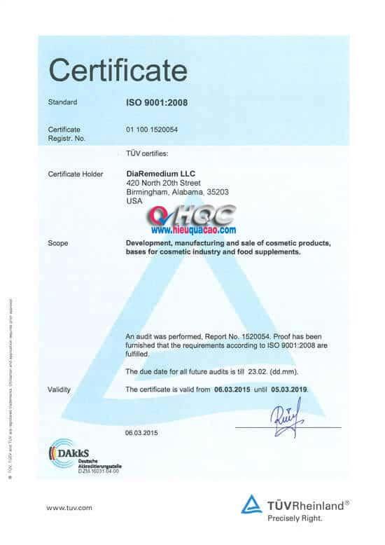 Certificate DiaRemedium