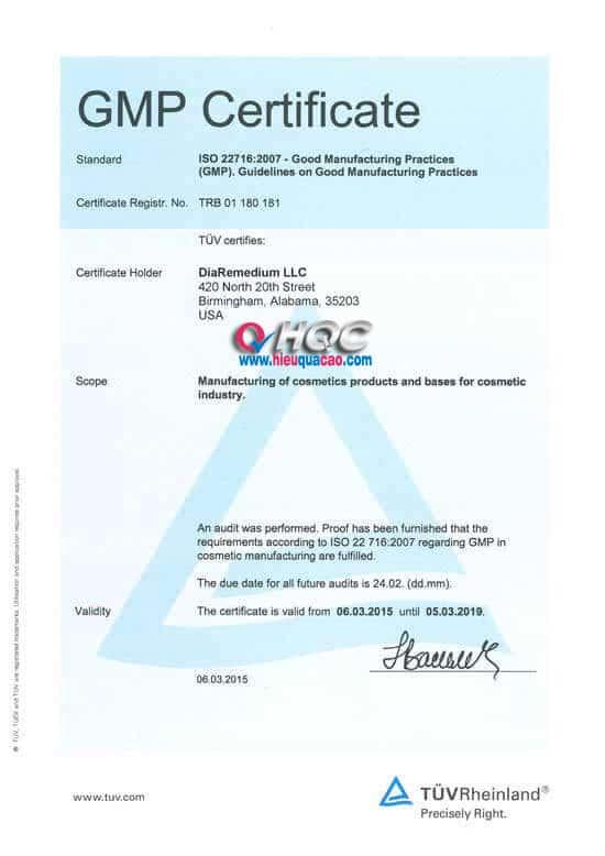 GMP Certificate DiaRemedium